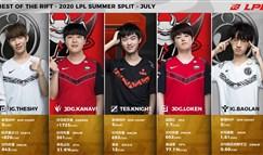 2020英雄联盟LPL夏季赛七月最佳阵容