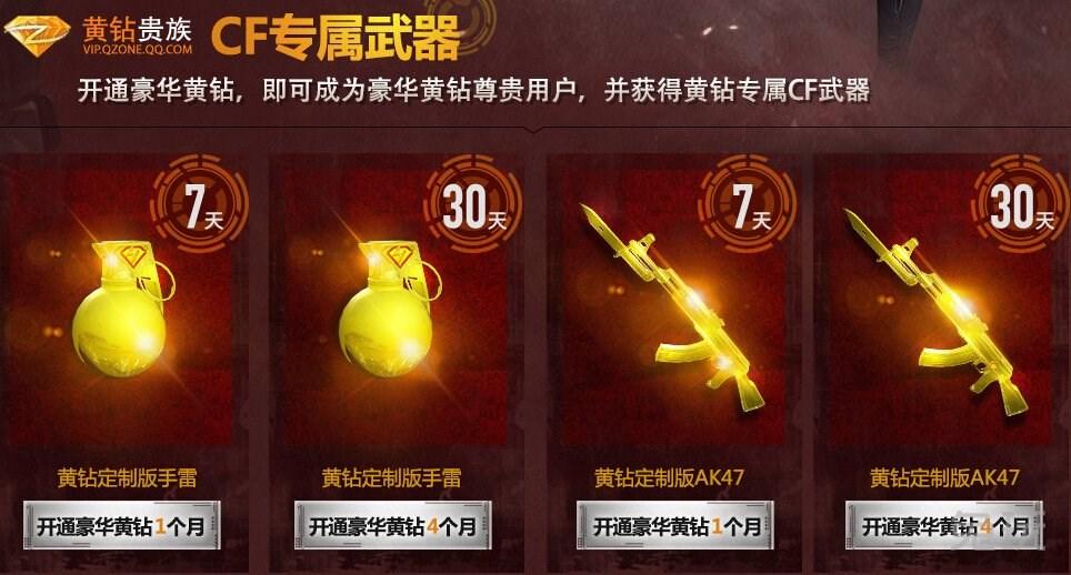 cf8月黄钻贵族活动 领取黄金武器黄金手雷