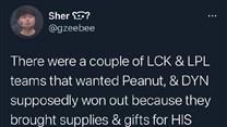 韩媒:DYN拿下Peanut是因为给猫买了礼物