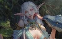 魔兽玩家绘画:森林中美丽的精灵与她的龙宠