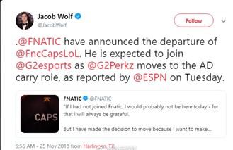 FNC官宣:Caps正式离队 将前往G2联手欧族?