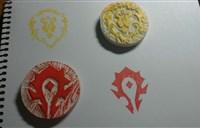 再现玩家手工帝:联盟与部落LOGO橡皮章