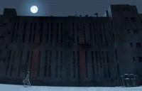 咬人壁纸-高大建筑上便是那轮明晃晃的圆月