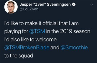 TSM:续约ADC选手Zven 辅助Mithy去向不明