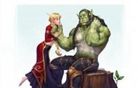 玩家绘画:血精灵妹子热吻兽人壮汉