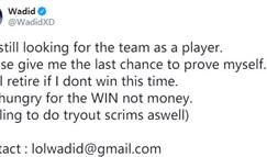 前G2辅助Wadid发推:作为选手寻找新队伍