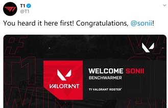 T1官宣:职业选手sonii加入VALORANT分部