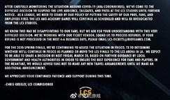 LCS公告:春季赛后续赛程将进行无观众比赛
